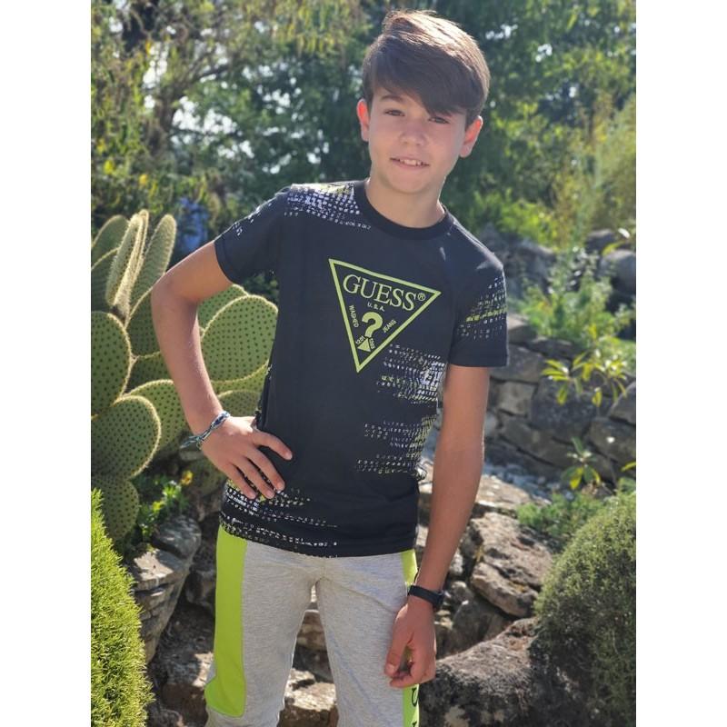 Tee-shirt manches courtes Guess Paul noir avec effets de couleurs