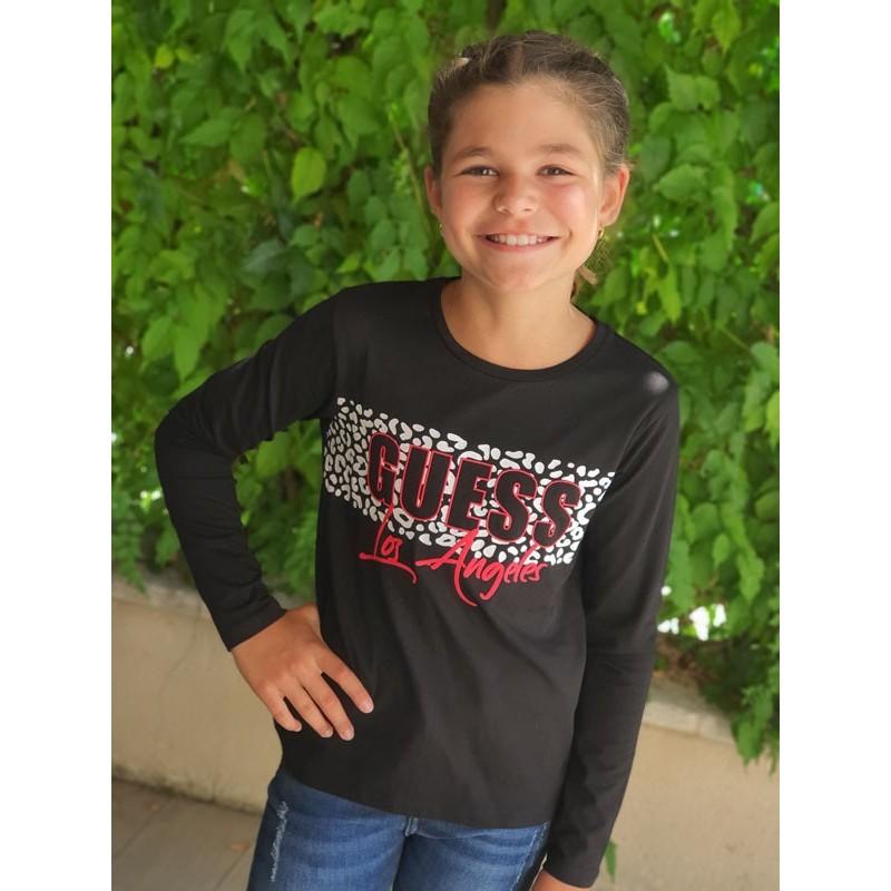 Tee-shirt manches longues Guess Lina noir avec motif léopard