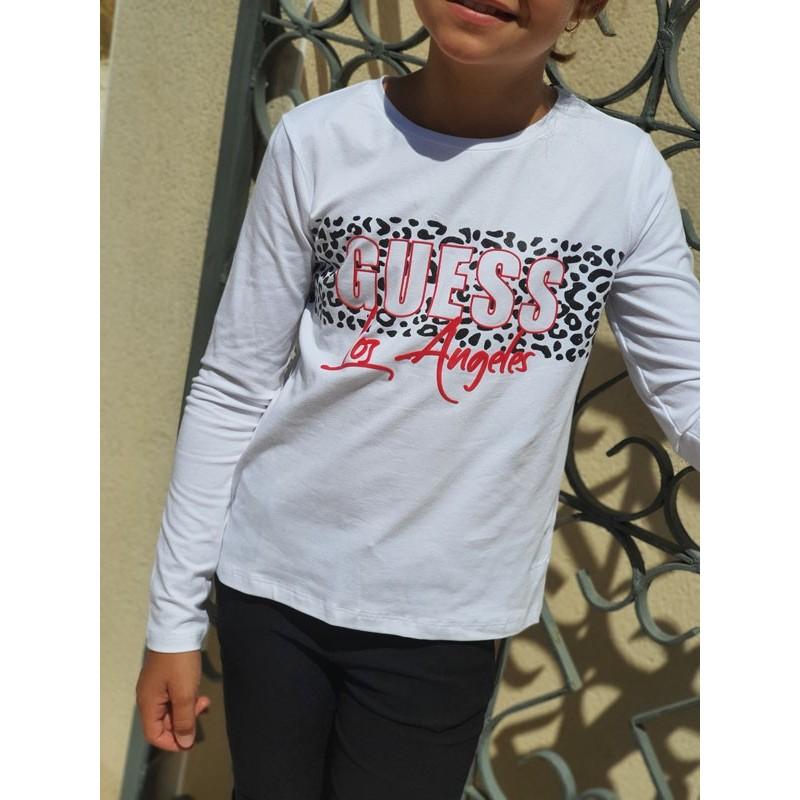 Tee-shirt manches longues Guess Lina blanc avec motif léopard