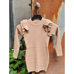 Robe pull manches longues Matilda beige avec col rond