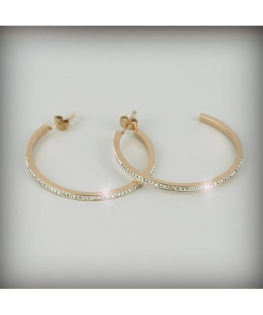 Creoles strass rose gold