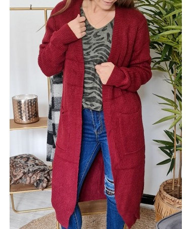 GILET LONG KACY BORDEAUX