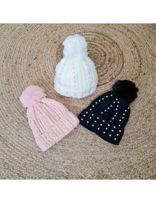 Bonnet perles pompon