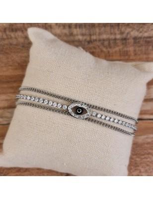 Bracelet œil couleur argent