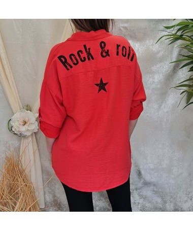 "Chemise ""Rock & roll"" rouge"