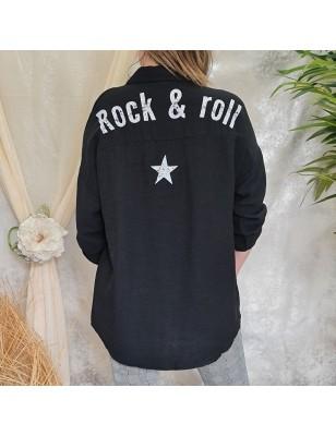 """Chemise """"Rock & roll"""" noir"""