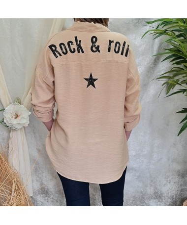 "Chemise ""Rock & roll"" camel"