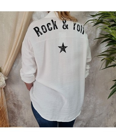"Chemise ""Rock & roll"" blanche"