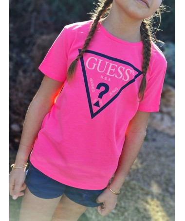 Tee-shirt Guess Lexy rose fluo