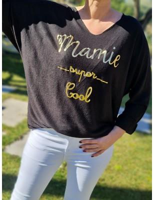 """Haut """"Mamie super cool"""" noir"""