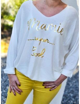 """Haut """"Mamie super cool"""" blanc"""