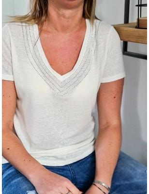 Tee-shirt Morgan Davia écru