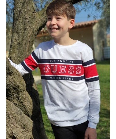 Sweat fin Guess Milo blanc