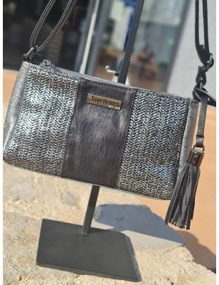 Petit sac bandoulière Les Tropéziennes Tulum noir effet brillant