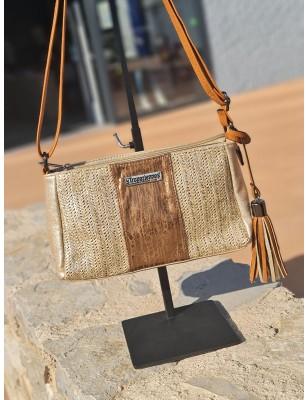 Petit sac bandoulière Les Tropéziennes Tulum doré effet brillant