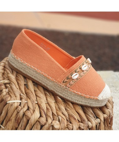 ESPADRILLES COQUILLAGES ORANGES