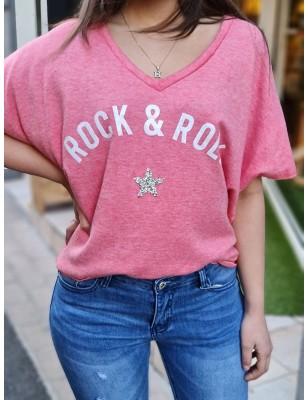 Haut rock étoile rose