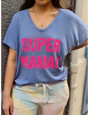 """Haut """"Super maman"""" bleu"""